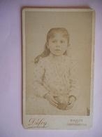 PHOTO CDV 19 EME JEUNE FILLE CHIC  MODE Cabinet DUFEY A  CONTREXEVILLE NANCY - Oud (voor 1900)