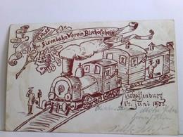 Seltene AK Gruss Eisenbahn Verein Bischhofsheim. Aschaffenburg 14. Juni 1903. Zug Mit Dampflok, Schaffner, Hei - Ohne Zuordnung