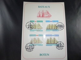 """BELG.1995 2608/2611 FILATELIST CARD WITH FIRST DAY STAMPS : """" Boten / Bateaux """" - FDC"""