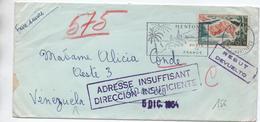 ENVELOPPE De MENTON (ALPES MARITIMES) Pour CARACAOS (VENEZUELA) -> REBUT / DEVUELTO // ADRESSE DIRECCION INSUFICIENTE - Venezuela