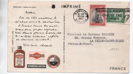 1952 - CARTE IMPRIME PUBLICITAIRE PUB SANTE De HAMILTON (BERMUDA) - Bermudes