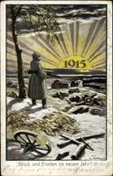 Cp Glückwunsch Neujahr, Jahreszahl 1915, Soldat In Uniform - New Year