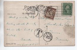 1921 - CP De NEW YORK Pour TOURS (INDRE ET LOIRE) Avec TAXE - Lettres Taxées