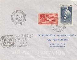 VIET-NAM. LETTRE. SAIGON FETE DES TELECOMMUNICATIONS 22 3 53 - Vietnam