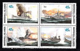 "Marshalleilanden 1989 Mi Nr 276 - 279 WO2, Battle Of The River Plate 1939, , HMS ""Exeter"", HMS ""Ajax"", Graf Spee, Achill - Marshall Islands"