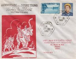 VIET-NAM. LETTRE. HANOI. 20 3 53. ANNIVERSAIRE DES SOEURS TRUNG - Vietnam
