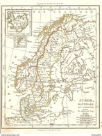 CARTE ANNÉE 1828 SUEDE DANEMARK NORVEGE - CARD YEAR 1828 SWEDEN DENMARK NORWAY - SCHWEDEN DÄNEMARK NORWEGEN - Cartes Géographiques