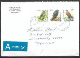 USED AIR MAIL COVER BELGIUM TO PAKISTAN BIRDS - Autres