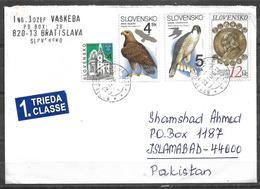 USED AIR MAIL COVER  SLOVAKIA TO PAKISTAN BIRDS - Slovaquie