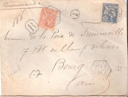 PARIS 1C 16 R. ST AUGUSTIN Recette Auxilliaire Type 1 Sur Lettre Recommandée - Postmark Collection (Covers)