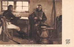 20-5226 : SALON DE PARIS 1905. LES LOISIRS DU CORPS DE GARDE PAR BOUTIGNY. JEU DE CARTES. - Peintures & Tableaux
