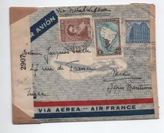 ARGENTINE / ARGENTINA - 1941 - LETTRE PAR AVION VIA NATAL LISBOA Pour NICE -> CENSURE - Argentina