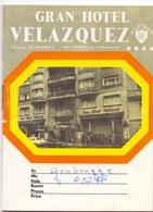Brochure Dépliant Faltblatt Folder - Pub Reclame Gran Hotel Velazquez Madrid - - Dépliants Touristiques