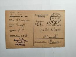 Deutsches Reich  Kriegsgefangenensendung 1918 Nach Marseille - Allemagne