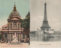 PARIS 2 CPA LA SORBONNE CONSTRUITE PAR RICHELIEU QUI POSA LA PREMIERE PIERRE EN 1635 ET LA TOUR EIFFEL - France