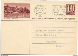"223 - 40 - Enter Postal  Avec Illustration ""Murten - Morat"" Oblit Mécanique 1942 - Postwaardestukken"