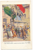 1913 TRIPOLI CARTOLINA POSTALE PATRIOTTICA ROMA SALUTA I SIMBOLI - 1900-44 Vittorio Emanuele III