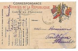 WWI JOURDAN EDOUARD SOLDAT 18 RIT TRESOR ET POSTES 167 POUR BOUISSON PAULHAN HERAULT - CPA CORRESPONDANCE MILITAIRE - Guerre 1914-18