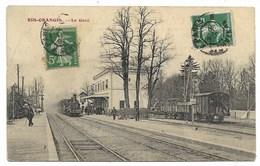 91-RIS-ORANGIS-La Gare...1908  Animé  Train  (pli) - Ris Orangis