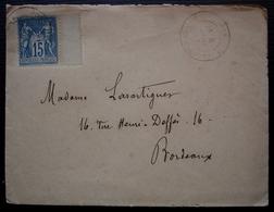 Sos Lot Et Garonne 1887 Lettre Pour Madame Lasartigues à Bordeaux, Avec Correspondance De Son Fils, Convoyeurs Au Revers - Postmark Collection (Covers)