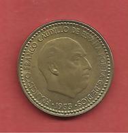 1 Peseta , ESPAGNE , Alu-Bronze , 1953 ( 62 ) , N° KM # 775 , N° Y113 - [ 5] 1949-… : Royaume