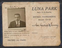 """Belgique - Entrée Du Park """"Luna Park"""" (Magic City De Bruxelles) Délivré à M. Georges Henry, L'année 1914. - Toegangskaarten"""