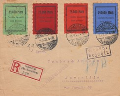 LETTRE ALLEMAGNE. 1923. RECOMMANDÉ SCHAFSTÄDT POUR MARSEILLE. GEBÜHR BEZAHLT TAXE PERCUE. 30,75,75,250 000 MARK     / 2 - Allemagne