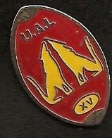 A240 Pin's Rugby UAL Laloubère Hautes-Pyrénées Loup Wolf Forme BALLON Achat Immédiat - Rugby