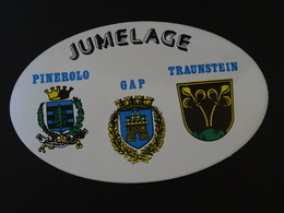 Blason écusson Adhésif Autocollant Jumelage Gap, Pinerolo, Traunstein Aufkleber Sticker Adesivo Adhesivo - Obj. 'Remember Of'