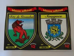 CP  Blason écusson Adhésif Autocollant Saugues Et Bête Du Gévaudan Aufkleber Sticker Adesivo Adhesivo - Obj. 'Remember Of'