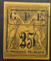 GUADELOUPE 1884 , Type SAGE , Yvert No 2 , 25 Sur 35 C Violet /  Jaune, VARIETE ENCADREMENT SURCHARGE ,neuf (*), TB - Guadeloupe (1884-1947)