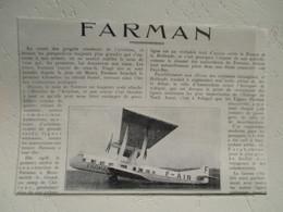 Avion Farman Tandem F 180 - Cie F-AIR Ligne Paris - Amsterdam (Schiphol) - Coupure De Presse De 1928 - GPS/Radios