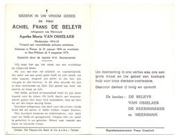 Devotie Doodsprentje Overlijden - Oudstrijder Achiel De Beleyr Echtg Agatha Van Osselaer - Temse 1894  Sint Niklaas 1973 - Décès
