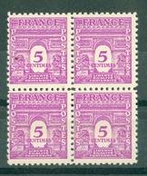 FRANCE - ARC DE TRIOMPHE N° N° 620** MNH LUXE BLOC DE QUATRE - 1944-45 Arc De Triomphe