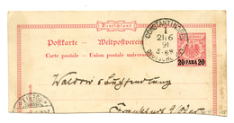 Germany Reich Cutout Of Postal Stationery Postcard Posted 1891 Constantinople 200401 - Bureau: Turquie