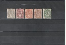 1900 - 1924 Timbres De France N°107 à 111 Type Blanc Neuf** - 1900-29 Blanc