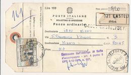 1981 VILLA CAMPOLIETO 100 LIRE SINGOLO ISOLATO SU BOLLETTINO PACCHI AD INTEGRAZIONE GEMELLO 100 LIRE VALORE BOLLETTINO - 6. 1946-.. Repubblica