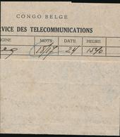 BELGIAN CONGO  TELEGRAM MOD 2/T BOENDE TSF 1950 - Congo Belge