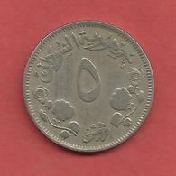 5 Ghirsh , SOUDAN , Cupro-Nickel , AH 1376 , 1956 , N° KM # 34.1 - Soudan