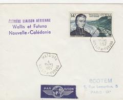 LETTRE.  WALLIS ET FUTUNA. 4 MARS 1957.  PREMIERE LIAISON AERIENNE WALLIS ET FUTUNA  / NOUVELLE-CALEDONIE    / 2 - Wallis-Et-Futuna