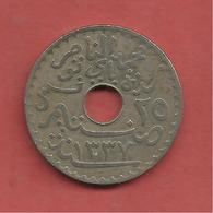 25 Centimes , TUNISIE , Nickel-Bronze , 1919 , N° KM # 244 - Colonies