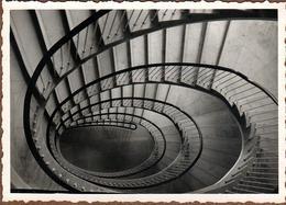 Photo Originale Géométrie & Cage D'Escalier Circulaire étourdissante Vers 1950 - Lieux
