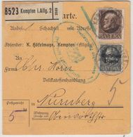 Bayern - 1 M. Ludwig U.a., Paketkarte Kempten - Nürnberg 1919 Freigabestpl. D. - Bayern