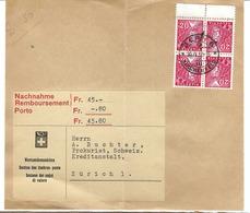 SUISSE 1937:  Grand Fragment De LSC Contre-Remboursement Avec 2x K31 (Bloc De 4)  B à TB - Zwitserland