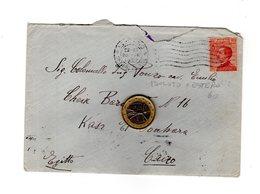 P0189 STORIA POSTALE REGNO MICHETTI C. 60 ISOLATO PER ESTERO EGITTO  BOLLO ARRIVO - Storia Postale