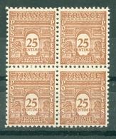 FRANCE - ARC DE TRIOMPHE N° N° 622** MNH LUXE BLOC DE QUATRE - 1944-45 Arc De Triomphe
