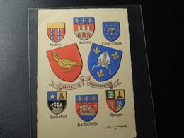 Carte Postale Blason écusson Aunis Et Saintonge Avec Différents Blasons Wappen Coat Of Arms Stemma - Patches