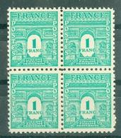 FRANCE - ARC DE TRIOMPHE N° N° 624** MNH LUXE BLOC DE QUATRE - 1944-45 Arc De Triomphe
