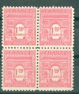 FRANCE - ARC DE TRIOMPHE N° N° 625** MNH LUXE BLOC DE QUATRE - 1944-45 Arc De Triomphe