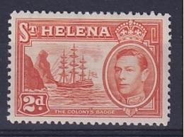 St Helena: 1938/44   KGVI     SG134    2d       MH - Saint Helena Island